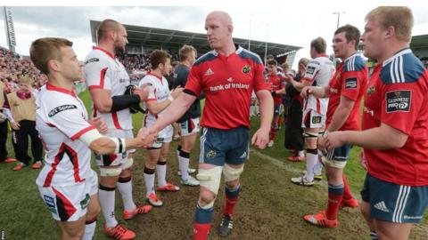 Munster legend Paul O'Connell shakes hands with Ulster try-scorer Paul Marshall after the 23-23 draw which takes the race for a home semi-final berth down the last weekend