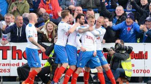 Rangers' Dean Shiels (2nd from right) celebrates after putting his side 2-1 up
