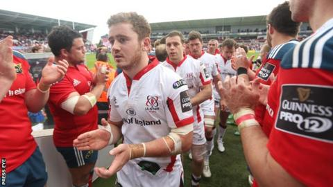 Paddy Jackson and his Ulster team-mates leave the pitch after securing a last-gasp draw with Munster