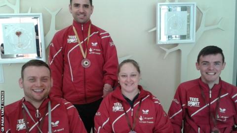 (Lto R) Rob Davies, Paul Karabardak, Sara Head and Tom Matthews all took medals in Slovenia