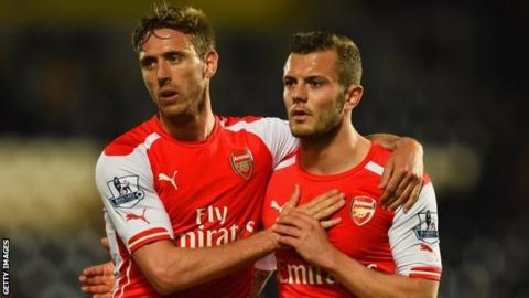 Arsenal's Nacho Monreal and Jack Wilshere