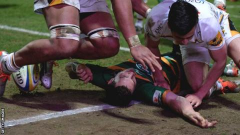 George North suffered his fourth head injury of the season playing for Northampton against Wasps in March
