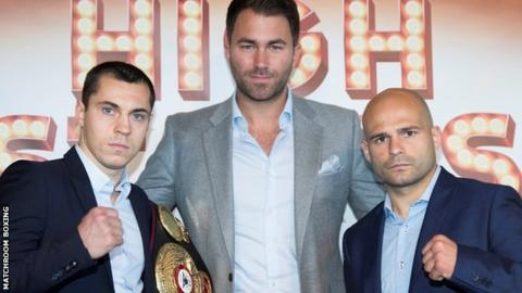 Scott Quigg and Kiko Martinez with promoter Eddie Hearn