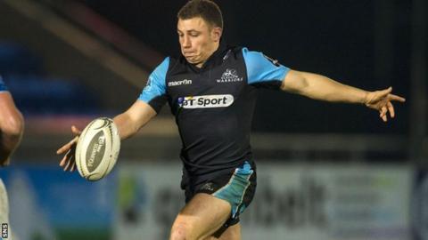 Glasgow Warriors' Duncan Weir clears the ball