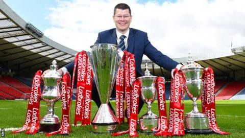 SPFL chief executive Neil Doncaster announced the Scottish Professional Football League's new two-year sponsorship deal with bookmakers Ladbrokes