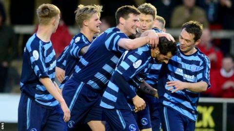 Forfar's Chris Templeman (third left) celebrates scoring his side's second.