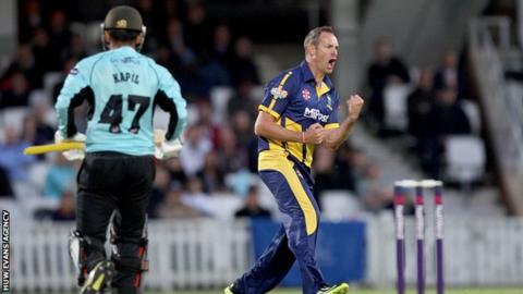Glamorgan's Dean Cosker took 4-30 from his four overs including the wicket of Aneesh Kapil