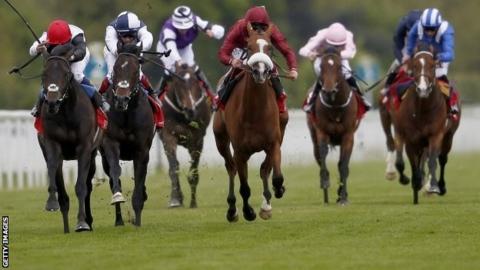 Golden Horn (left) wins the Dante Stakes at York
