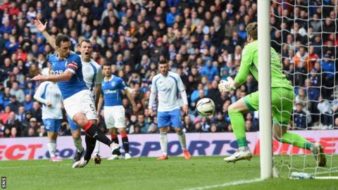 Lee Wallace drew Rangers level at Ibrox, 3-2 ahead in the tie