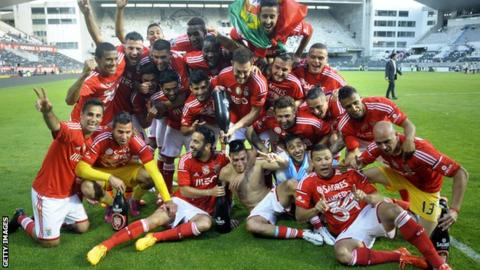 Benfica celebrate winning the title