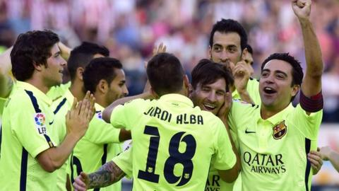 Barcelona celebrate after beating Atletico Madrid