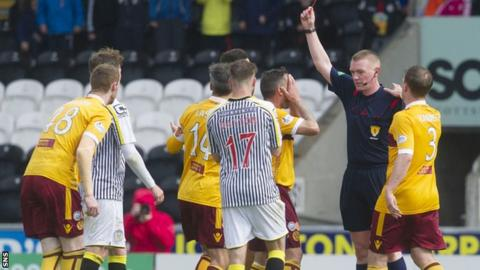 Motherwell's Scott McDonald (third from right) was show a red card in the St Mirren defeat