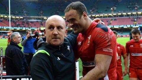 Wales defence coach Shaun Edwards and centre Jamie Roberts