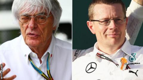 F1 boss Bernie Ecclestone and Mercedes F1 engine boss Andy Cowell