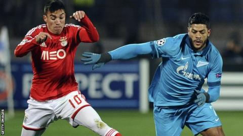 Zenit's Hulk (right) battles for possession with Nicolas Gaitan of Benfica during their Champions League group C game in November 2014