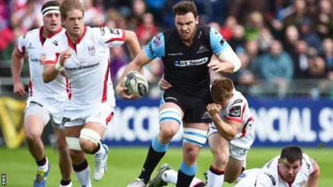 Adam Ashe of Glasgow Warriors leaves Ulster defenders in his wake