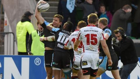 DTH Van Der Merwe scored a late try for Glasgow Warriors
