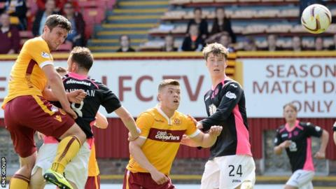 Motherwell striker John Sutton in action against Partick Thistle