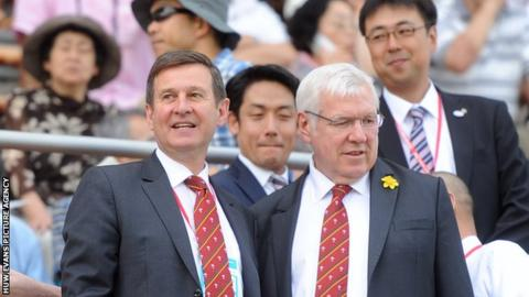 Welsh Rugby Union chief executive Roger Lewis (left) with president Dennis Gethin during Wales' 2013 tour of Japan
