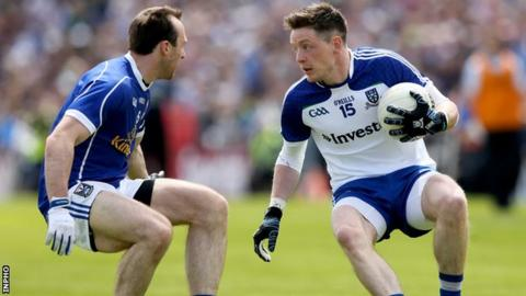 Conor McManus is about to be challenged by Cavan's Fergal Flanagan at Breffni Park