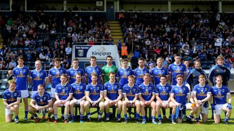 The members of the Cavan panel pose for their pre-match photograph before the Ulster Championship match against Monaghan
