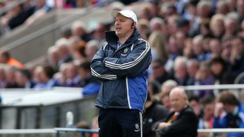 Monaghan manager Malachy O'Rourke watches the action from the Breffni Park sidelines