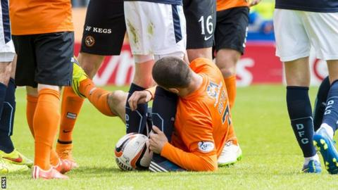 Dundee United's Nadir Ciftci clashes with Dundee's Jim McAlister