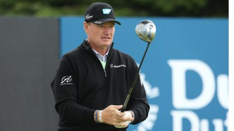 South African Ernie Els in action during his practice round before the Irish Open