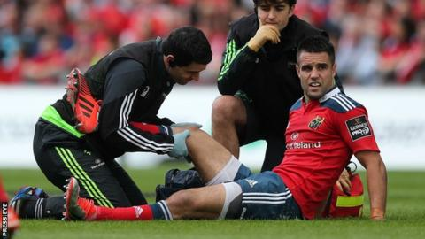 Conor Murray receives treatment for the injury in the win over the Ospreys