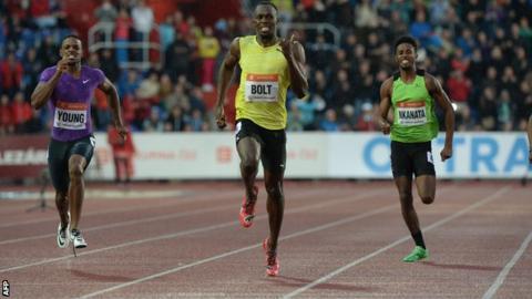 Usain Bolt wins at the Golden Spike event in Ostrava