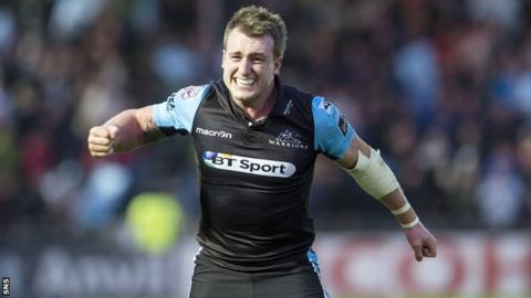 Glasgow Warriors' Stuart Hogg celebrates beating Ulster