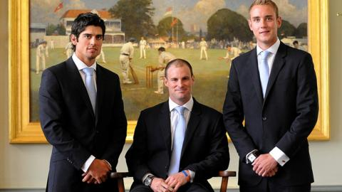 Alastair Cook, Andrew Strauss and Stuart Broad