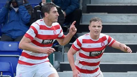 Lucas celebrates scoring for Accies against Ross County