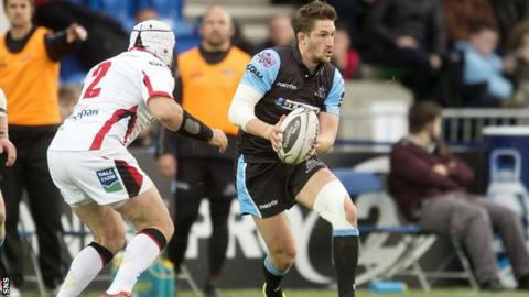 Henry Pyrgos carries for Glasgow Warriors against Ulster