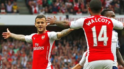 Arsenal's Jack Wilshere celebrates his goal against West Brom with Theo Walcott