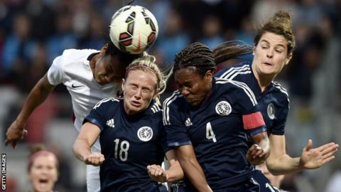 Kirsty Smith (left), Ifeoma Dieke and Jennifer Beattie in action for Scotland against France