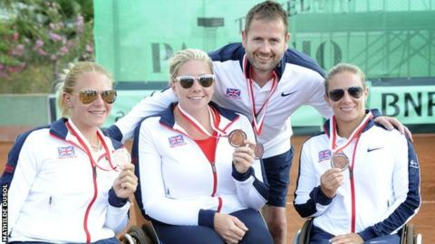 GB women's team of Jordanne Whiley, Louise Hunt and Lucy Shuker with coach Kevin Simpson