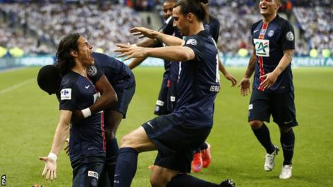 Edinson Cavani (left) celebrates scoring with Zlatan Ibrahimovic