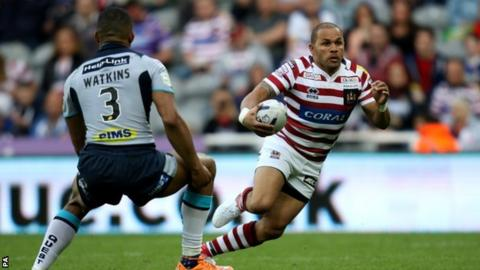 Wigan full-back Matty Bowen scored his side's fourth try at St James' Park