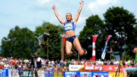 Jessica Ennis-Hill competes in the long jump in Gotzis