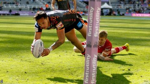 Denny Solomona goes over for Castleford's opening score in Sunday's final match of Magic Weekend at St James' Park