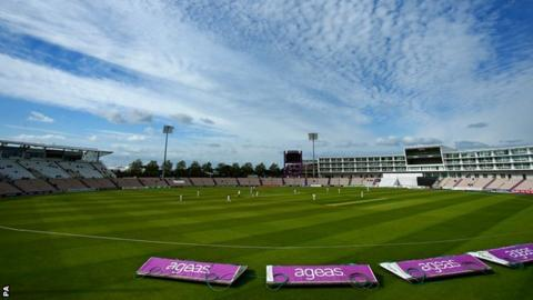 A mackerel sky hangs over the Ageas Bowl during the first day of Hampshire's Championship game against Worcestershire