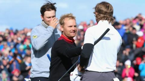 The action ended at the first extra hole at Royal County Down as Soren Kjeldsen (centre) holed a four-footer to beat Bernd Wiesberger (left) and Pepperell