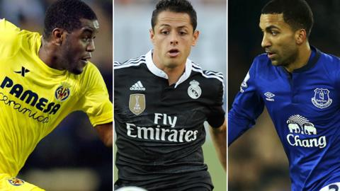 Joel Campbell (left), Javier Hernandez (centre) and Aaron Lennon (right)