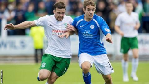 Dan Carmichael (right) in action against Hibernian last season