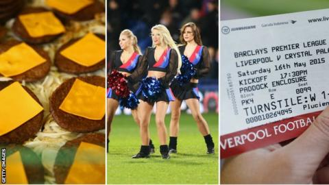 Burgers, Crystal Palace cheerleaders, match ticket