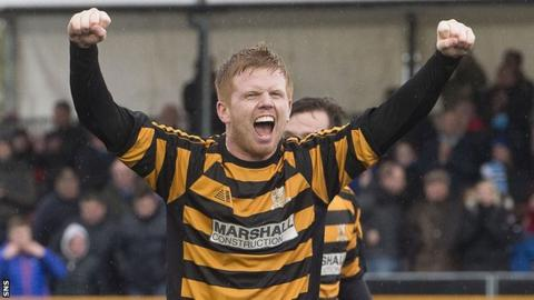 Ryan McCord celebrates with Alloa
