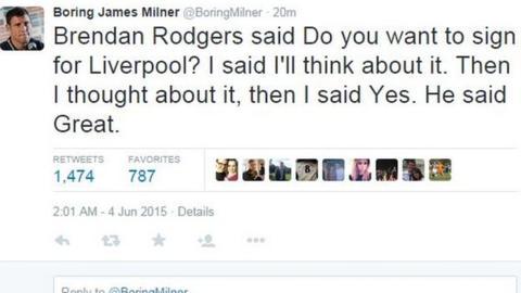 A boring James Milner tweet