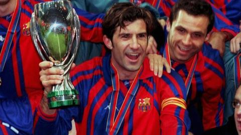 Luis Figo with the Super Cup