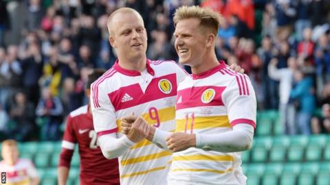 Steven Naismith and Matt Ritchie celebrate